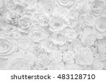 Stock photo white paper flowers decorative background 483128710