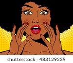 wow pop art face. sexy... | Shutterstock .eps vector #483129229