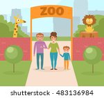 family at the zoo. gate and red ... | Shutterstock .eps vector #483136984