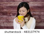 woman who enjoys the coffee... | Shutterstock . vector #483137974