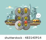 transport cross road hub | Shutterstock .eps vector #483140914