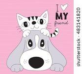 cute best friends cat and dog...   Shutterstock .eps vector #483141820