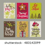 collection of six christmas... | Shutterstock .eps vector #483142099