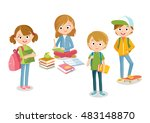 pupils boys and girls with books | Shutterstock .eps vector #483148870