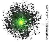 vector explosion cloud of grey... | Shutterstock .eps vector #483159298
