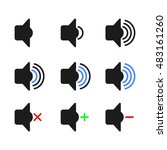 audio speaker volume icons | Shutterstock .eps vector #483161260