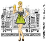 vector cute woman in drindl on... | Shutterstock .eps vector #483162076
