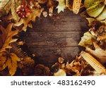 thanksgiving dinner. autumn... | Shutterstock . vector #483162490
