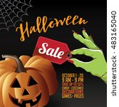 halloween sale background with... | Shutterstock .eps vector #483165040