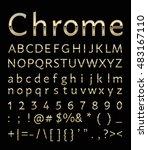 chrome letter with gold edge on ... | Shutterstock .eps vector #483167110