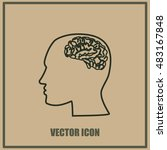 brain in haed icon | Shutterstock .eps vector #483167848