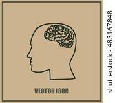 brain in haed icon | Shutterstock .eps vector #483167848