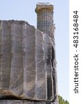 Small photo of Ionic Columns from the Temple of Athena of Ancient Greek City of Priene, Turkey