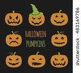 halloween pumpkins set. graphic ...   Shutterstock .eps vector #483169786
