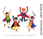 team of young superhero boys.... | Shutterstock .eps vector #483178528