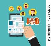 job opportunity online flat...   Shutterstock .eps vector #483182890