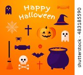 set of halloween ribbons and... | Shutterstock .eps vector #483185590