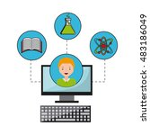 data science online flat icons... | Shutterstock .eps vector #483186049