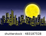 panorama of the big city at... | Shutterstock .eps vector #483187528