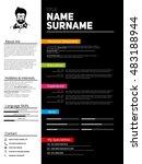 minimalist cv  resume template... | Shutterstock .eps vector #483188944