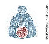 knitted cap sketch. hand drawn...   Shutterstock .eps vector #483190684