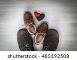 dad and son brown shoes with... | Shutterstock . vector #483192508