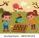 kids in the  vegetable garden ... | Shutterstock .eps vector #483194143