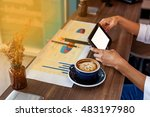 coffee pig face on the table ... | Shutterstock . vector #483197980