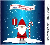 santa claus with present  candy ... | Shutterstock .eps vector #483199093