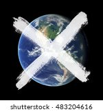Painted cross over Earth planet as metaphor of apocalypse and end of the world and death of whole life because of some disaster or catastrophe. Element of image furnished by NASA