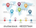 world map infographic with... | Shutterstock .eps vector #483207664