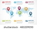 world map infographic with 6... | Shutterstock .eps vector #483209050