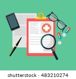 medical diagnosis flat... | Shutterstock .eps vector #483210274