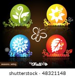 Colorful Seasons Icons  Glossy...