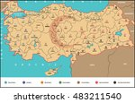 map of turkey  provinces plate... | Shutterstock .eps vector #483211540