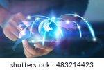 world map connected  social... | Shutterstock . vector #483214423