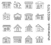 house set in outline style.... | Shutterstock . vector #483217573
