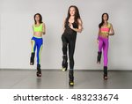 three young girls jumping on... | Shutterstock . vector #483233674