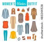 women winter clothes flat... | Shutterstock .eps vector #483244528