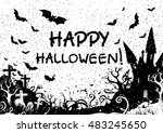 happy halloween  tree  castle ... | Shutterstock .eps vector #483245650