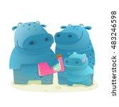 hippopotamus family with book.... | Shutterstock .eps vector #483246598