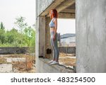 fitness girl on the old stairs... | Shutterstock . vector #483254500