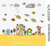 autumn in the city. vector... | Shutterstock .eps vector #483257674
