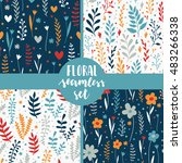 set of 4 seamless floral... | Shutterstock .eps vector #483266338