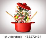 big red pot for soup with... | Shutterstock . vector #483272434