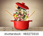 big red pot for soup with... | Shutterstock . vector #483273310