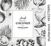 hand drawn coconuts design... | Shutterstock .eps vector #483275890