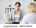 talking to patient   Shutterstock . vector #483278644