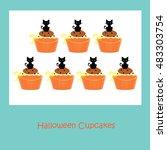 halloween cupcakes   cat | Shutterstock . vector #483303754