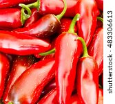 hot red peppers at a farmer's... | Shutterstock . vector #483306613